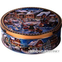 Sušenky plech zimní ulice modrá 150g