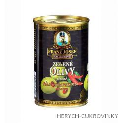 FJK Zelené olivy plněné pálivou paprikovou pastou 314g
