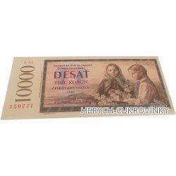 Bankovka Deset tisíc kčs - čokolády 60g