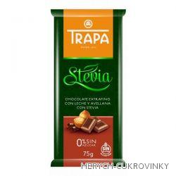 Trapa čokoláda Stévia mléčná s oříšky 75g