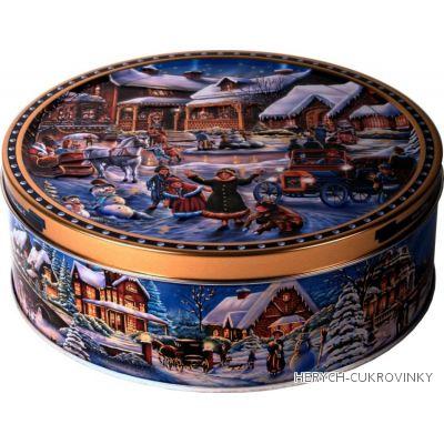 Sušenky v plechu zimní ulice modrá 400g
