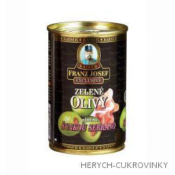 FJK Zelené olivy plněné šunkou Serrano 300g