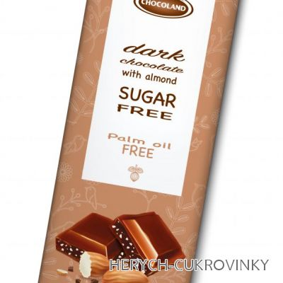 Sugar free čok. hořká mandlová 85g