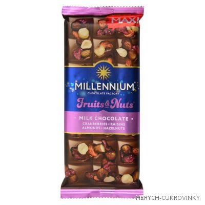 Milenium čok. 140g - ml. čok. brusinky, ořechy